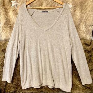 Brandy Melville Grey V-Neck Oversized Sweater